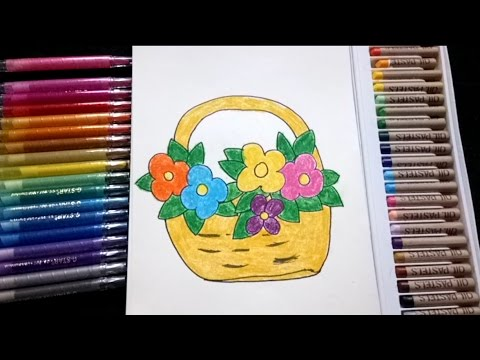 How To Draw Flower Basket For Kids In Simple Way Youtube