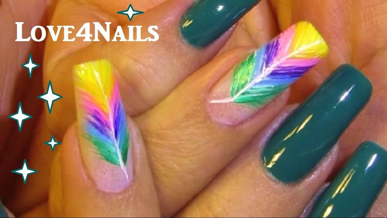 How To Rainbow Feather Nail Art Tutorial Youtube