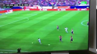 Atletico Madrid bench throws ball on field to try and stop a Malaga counterattack