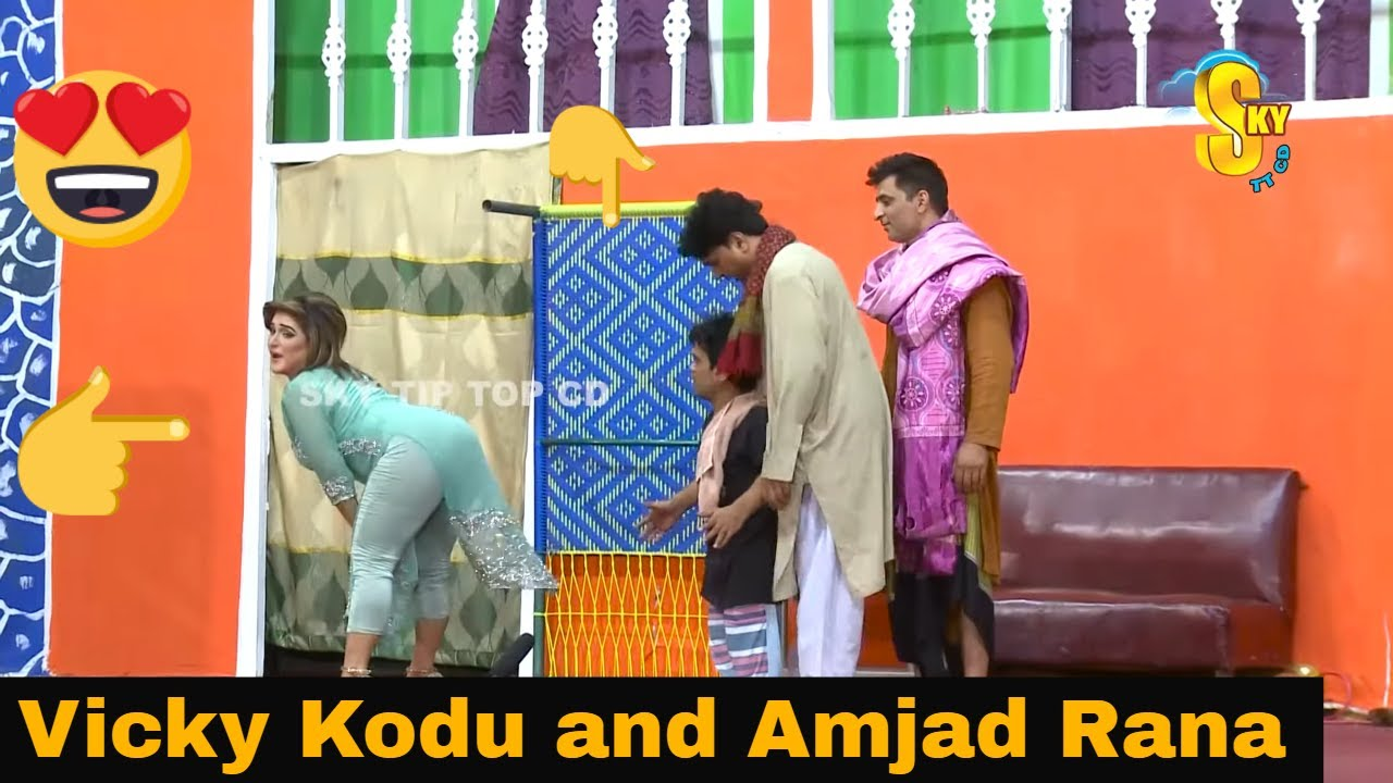 Vicky Kodu and Shazeb Mirza with Amjad Rana | full HD Stage Drama Nakhra Gori da | Comedy Clip 2019