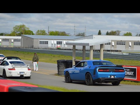 Challenger Scat Pack Chases Lamborghini Huracán at M1 Concourse Champion Motor Speedway - 05/06/2017