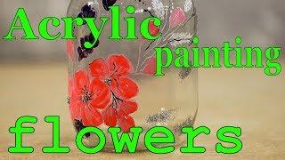 Acrylic painting flowers. Самоделки своими руками