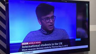 Shaswat Jain, KCLSU President 19/20 on BBC World News