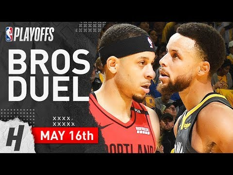 Stephen Curry vs Seth Curry Game 2 Duel Highlights 2019 NBA Playoffs WCF - 37 Pts for Steph