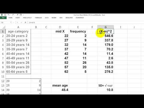 Mean, Median, and SD for Grouped Data - YouTube