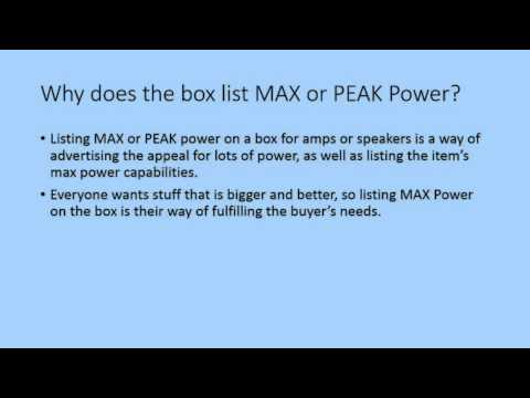 RMS or PEAK Power - Whats The Difference