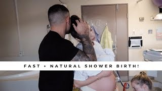 2HR INTENSE NATURAL LABOUR VLOG!! | SHOWER BIRTH | *RAW & EMOTIONAL*