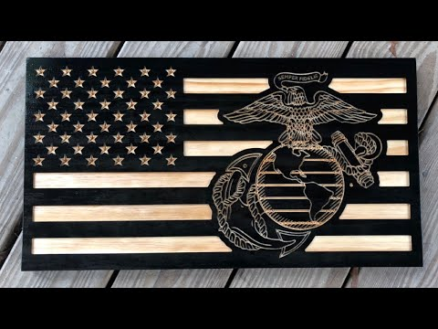 Marine Corps EGA Wooden Flag Designed in Carbide Create and made on Shapeoko XXL CNC router USMC