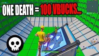 1 DEATH = 100 VBUCKS CHALLENGE! 100 Level Default Deathrun 2.0 (Creative Fortnite)