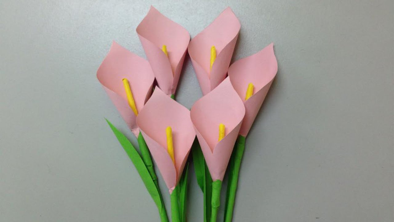 How to make a paper tulip in origami technique