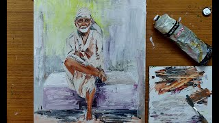 Sai Baba portrait with Oil Paints | Palette Knife Oil Painting
