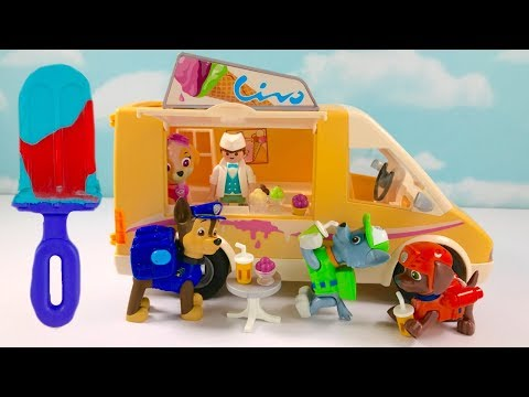 Colors & Food Names  for Children with Paw Patrol Ice Cream Van Play Doh