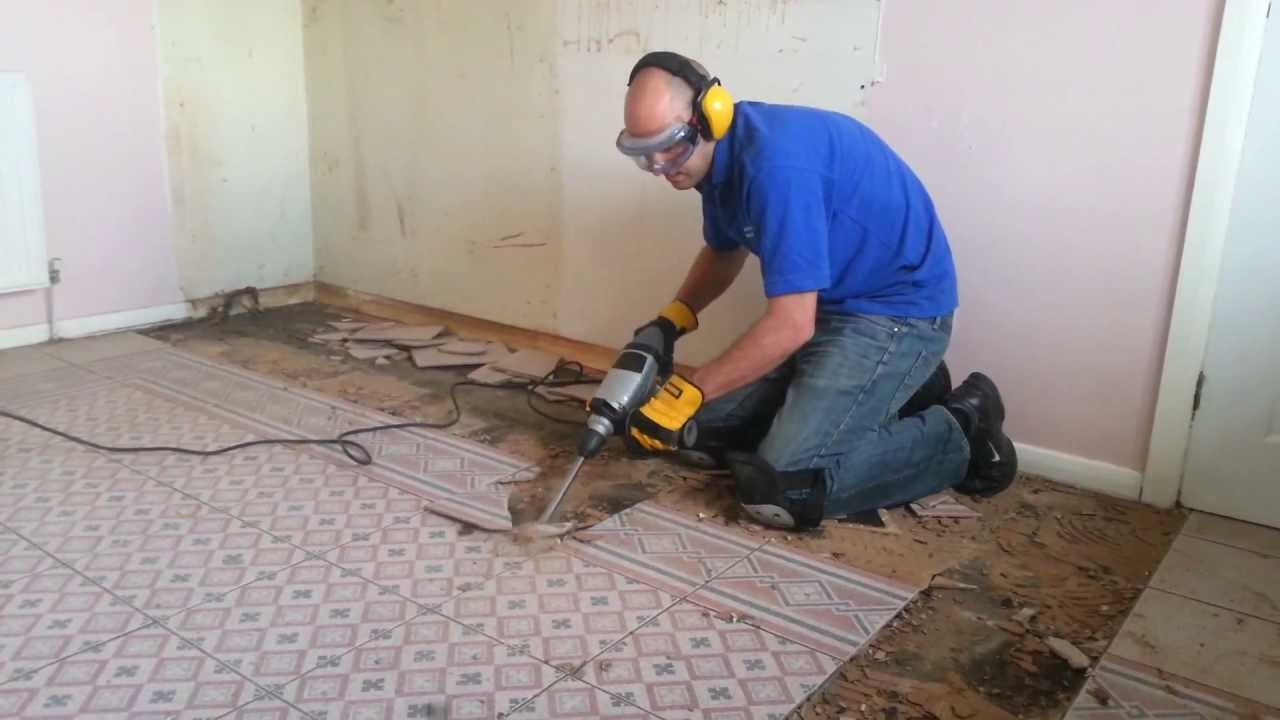 removing kitchen floor tiles titan sds with a 80mm cranked tile chisel removing a 4708