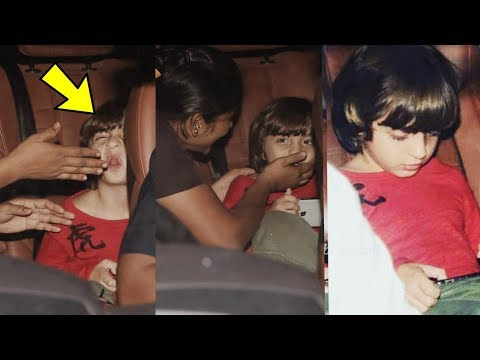 Shahrukh Khan's cutie son Abram Khan finally in Masti mood by making faces to media at Salman Party