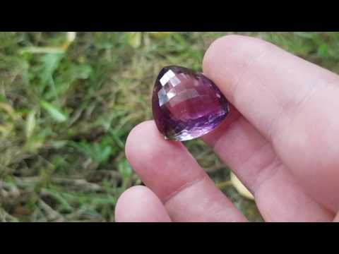 37ct trillion Amethyst gemstone with checker cut