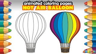 Animated Coloring Pages How to Draw Cartoon Hot Air Balloon Aerostat. Creative Art Lessons for Kids