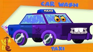 Old School Tie   Visit The Car Wash With The Halloween Taxi   Funny Cartoon Vehicles For Kids