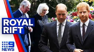 Prince William and Harry separated at Prince Philip's funeral | 9 News Australia