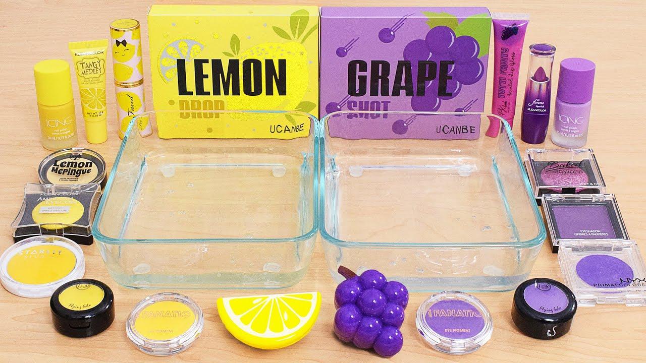 Grape vs Lemon - Mixing Makeup Eyeshadow Into Slime ASMR