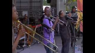 "Dirty Dozen Brass Band at Jazzfest 2013 - ""Blackbird Special"""