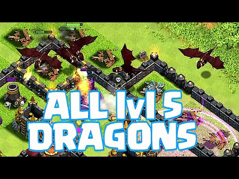 Clash Of Clans - ALL MASS DRAGON lvl 5 RAIDS!! (Roasting villages!)
