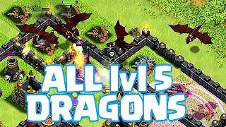 Clash Of Clans - ALL MASS DRAGON lvl 5 RAIDS!! (Roasting villages!)