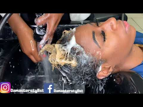 Dandruff scratching with hair wash.