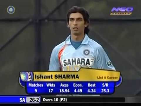 19 Year OLD Ishant Sharma ODI Debut - Bowls his 1st Over in ODI 2007