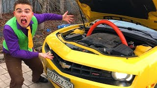 Red Man stuck Stick in Engine under Hood VS Mr. Joe on Broken Chevrolet Camaro