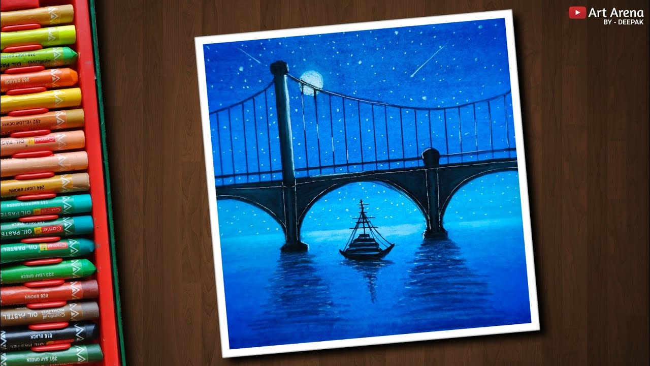 Night Bridge Scenery Drawing With Oil Pastels Step By