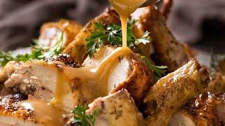 CRISPY Herb Baked Chicken with Gravy (easy roast chicken!)