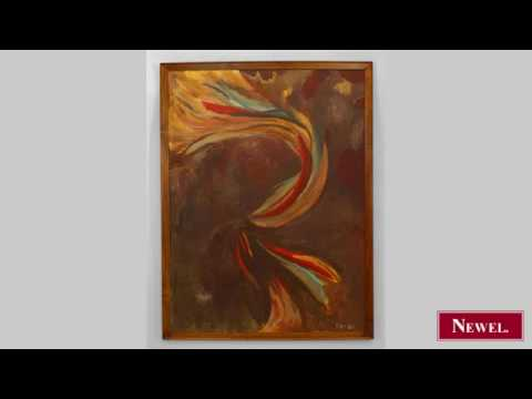 Antique American modern abstract painting of mulit...