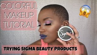 COLORFUL MAKEUP TUTORIAL | TRYING NEW SIGMA PRODUCTS | BEAUTY BY KANDI