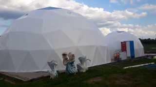 Геодезический купол шатер сфера геокупол(Комплекс из двух купольных шатров диаметром 12 и 6 метров изготовлен и смонтирован в городе Рыльск, Курской..., 2015-06-16T05:20:46.000Z)