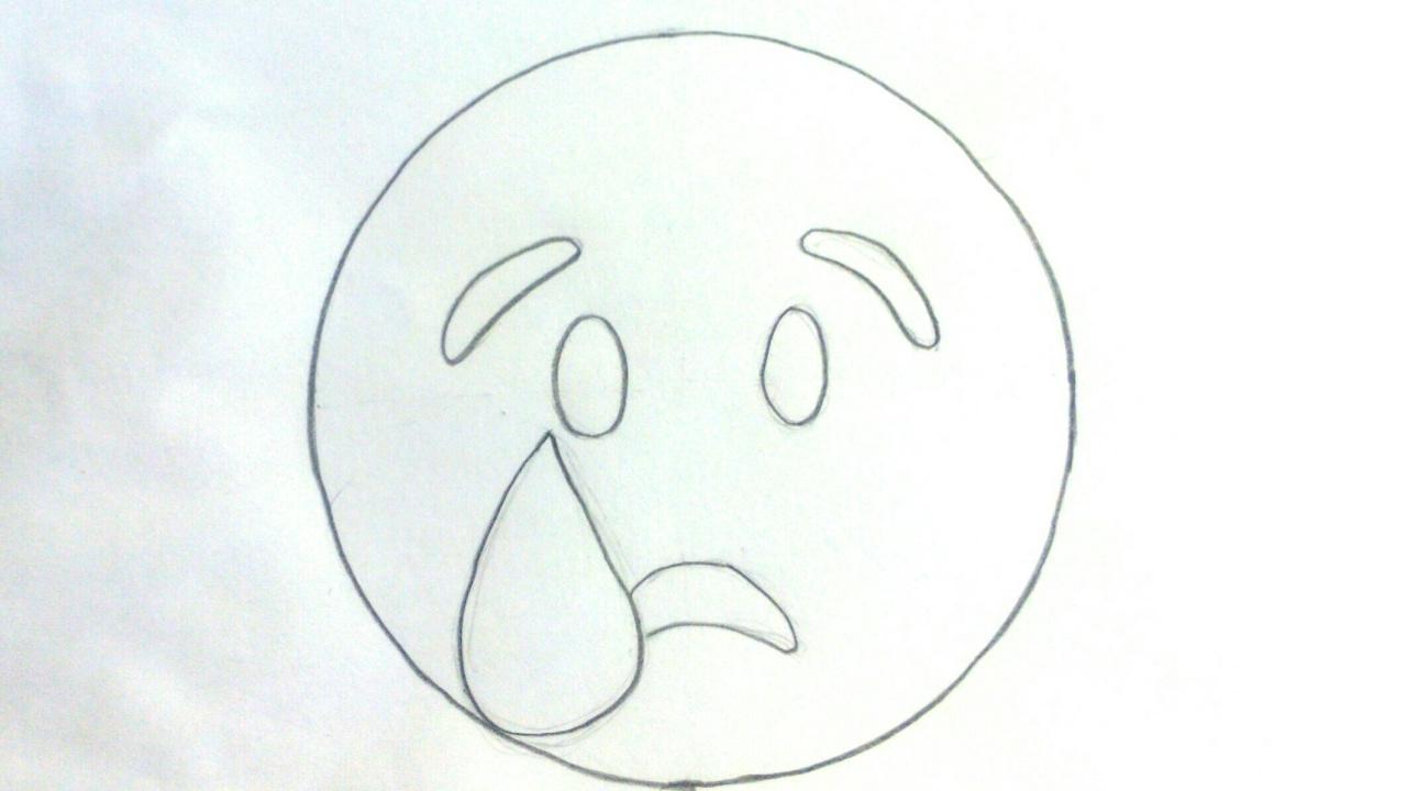 Dibujos De Emojis Para Colorear: Emojis Whatsapp: Cómo Dibujar Un Emoticon Llorando Paso A