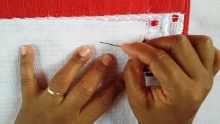 Bordado pra Barra de toalhas com fitas (parte 1/5)