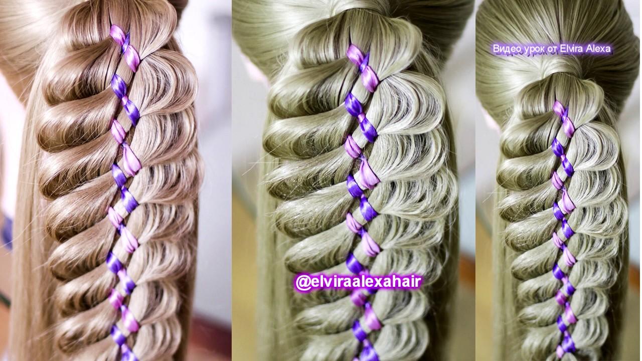 Коса c двумя лентами на хвосте Причёска в школу на 1 сентября Hair tutorial