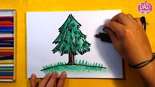 How to draw a Christmas tree / Art for Kids / step by step / speed drawing