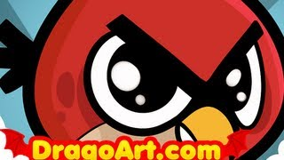 How to Draw a Chibi Angry Bird, Chibi Angry Red Bird From Angry Birds, Step by Step
