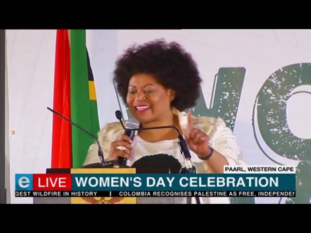 Grandchild of South African's Albertina Sisulu at Women's Day celebrations.
