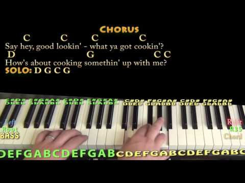 Hey Good Lookin' (Hank Williams) Piano Cover Lesson in C with Chords/Lyrics
