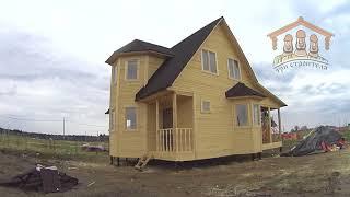 """Каркасно-щитовой дом 6х8 метров с эркером и террасой от """"Три Строителя""""   Видеообзор"""