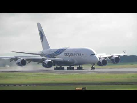 Malaysian Airlines A380 Landing and Taxi  Manchester 23/7/2017