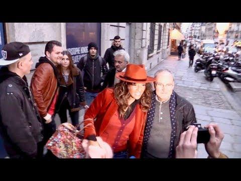 EXCLUSIVE: Singer Nadiya arriving at Europe 1 radio station in Paris