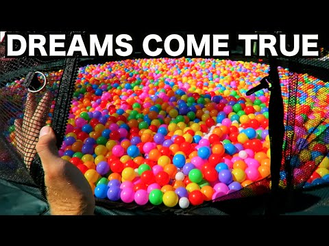 TURNING MY TRAMPOLINE INTO A BALL PIT!!