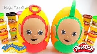 Teletubbies: Huge Play Doh Surprise Eggs Teletubbies Dipsy and Po | Learn Colors with Play Doh