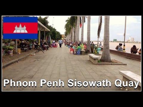 Walking Riverside, Beautiful Phnom Penh Sisowath Quay - Cambodia August 2017
