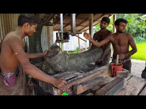 Wet Mahogany Wood, Crooked Wood Cutting by Old Sawmill।Wood Cutting Old Techniques