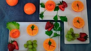How to Peel and Cut Orange/Orange peel Flowers&Fruit Plates