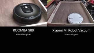 Vergleich Xiaomi Mi Robot und  irobot Roomba 980